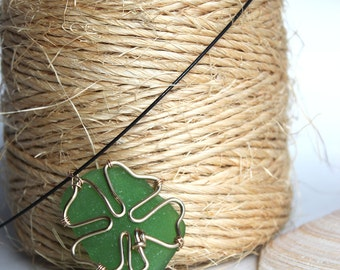 Shamrock 4 Leaf Clover Green Sea Glass Gold Necklace Pendant St. Patrick's Day Irish