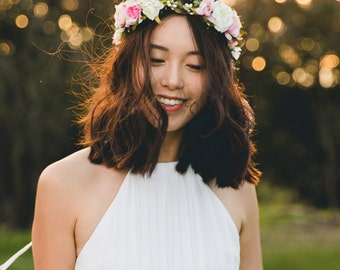 blossom and forest bridal wedding flower crown // Flore - multi-colour / bohemian floral headpiece flower crown