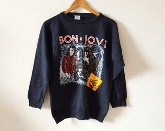 Vintage Bon Jovi Slippery When Wet Tour Sweater- Crewneck, M S, W L, 80s Rock and Roll Glam