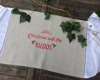 Linen Table Runner Red Custom Monogram Embroidery Christmas in July, Holidays Holly Table Topper