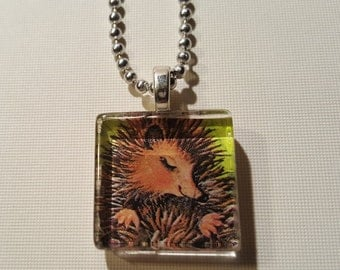 Porcupine glass tile pendant necklace