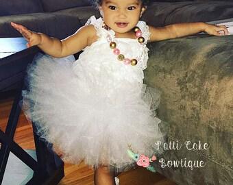 White & Gold Baby Tutu Set, Baby Girl Tutu, Toddler Tutu, Shabby White Flower Headband, Cake Smash, Sewn Tutu Skirt, First Birthday Tutu