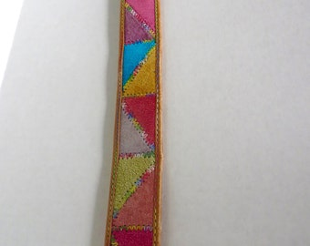 Vintage Leather Belt The Express Belt Colorful Suede belt colorful Textile belt Geometric belt Triangle belt rainbow belt Brass buckle