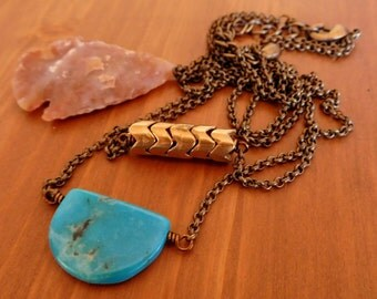 Brass Turquoise necklace | Layered pendant | boho pendant |