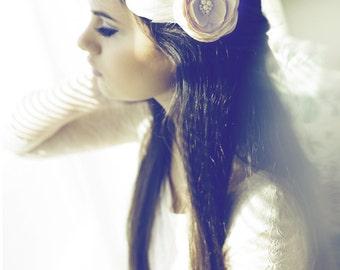 Wedding hair piece, Rustic hair accessories, Champagne beige hair flower, Rustic wedding hairpiece
