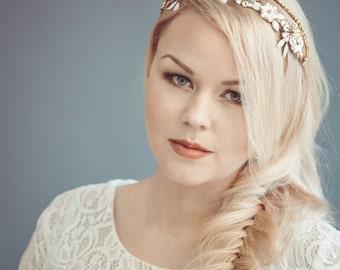 Gold wedding crown - Gold bridal tiara - Bridal headband - Gold wedding headband - Wedding headpiece