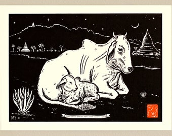 Burma Banteng and Calf with Aloe in Bagan - Handmade Letterpress Print