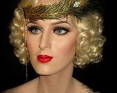 GOLDEN GATSBY PEACOCK Headband, Metallic Gold Embroidered Feather, 20s Flapper Headband, Great Gatsby Black & Gold Band, Art Deco Headpiece