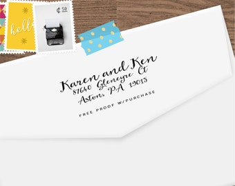 Return Address Stamp - simple and clean handwriting font. (Handlettered font) Handle or Self-Inking Return Address Stamp  (20502) 2 1/2 X 1