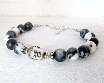 Black and White Marble Buddha Bracelet, Silver Buddha Wrap, Black and White Stone Buddha Bohemian Beaded Bracelet