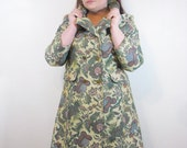 Vintage Tapestry Coat // 1970s Double Breasted Peacoat // Plus Size Mid Length Spring Jacket // Vintage Plus Size Outerwear Large XL