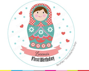 Matryoshka Stickers, Russian Nesting Dolls, Personalized  Round Stickers, Labels A1246