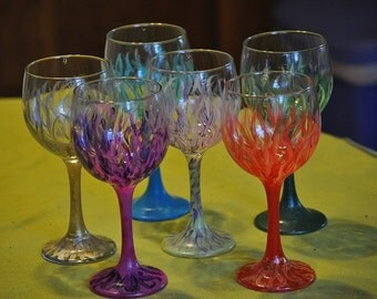 "Painted Wine Glasses ""Swirly Twirly"""