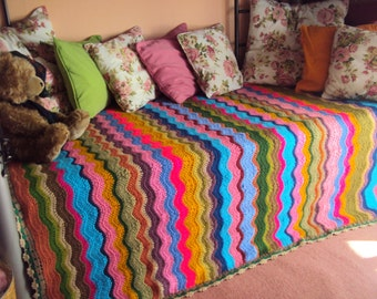Crochet Blanket Zig Zag Blanket Afghan Blanket Chevron Blanket Lap Cover Ripple Blanket Rainbow Colors
