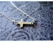 Tiny Sideways Cross Necklace - Sterling Silver Sideways Cross Charm on a Delicate Sterling Silver Cable Chain or Charm Only