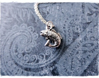 Silver Bass Fish Necklace - Sterling Silver Bass Fish Charm on a Delicate Sterling Silver Cable Chain or Charm Only