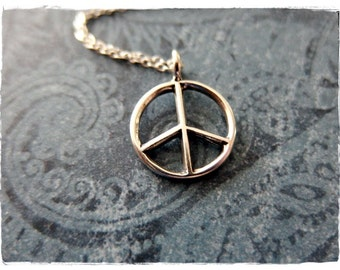 Silver Peace Sign Necklace - Sterling Silver Peace Sign Charm on a Delicate 18 Inch Sterling Silver Cable Chain