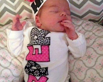 Take home outfit girl, baby girl gown, infant hat, baby girl romper, baby mitten, personalized baby gift