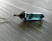 Flourite Point Necklace, Double Point Pendant in Silver, Crystal Point Necklace