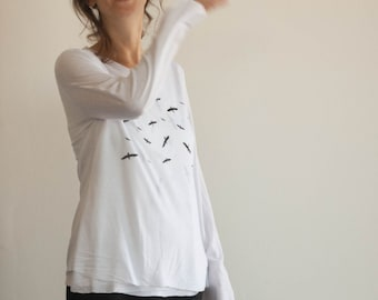 2 Layers women T-shirt, print- flock of birds, White Delicate and soft fabric, Black and red print,Loose shape.