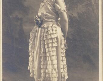 Beautiful RUFFLED ART DECO Dress on Young Woman Photo circa 1920s