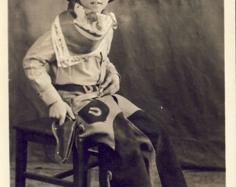 Little COWBOY Dressed From Head To Toe In His Favorite WESTERN Hero Style Photo Circa 1940