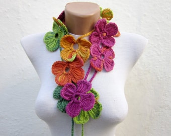 Handmade crochet Lariat Scarf green orange pink blue yellow  Flower Lariat Scarf Colorful Long Necklace  winter fashion