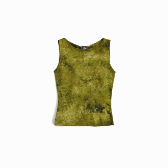 Vintage 90s Tie Dye Tank Top / Army Green Grunge Tank / Spandex Top / 90s New Age Fashion - women's small