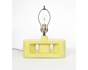 Mid Century Ceramic Table Lamp / Geometric Yellow