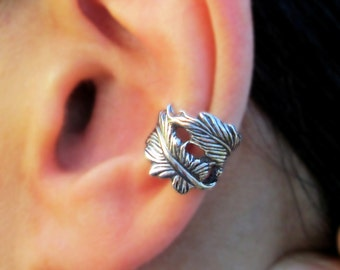 Double feather ear cuff Sterling Silver earrings Feather jewelry Feather earrings Sterling silver ear cuff Small clip for men & women C-199
