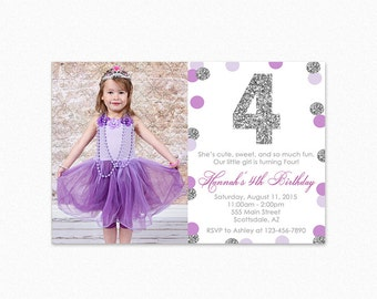 Purple and Silver Birthday Party Invitation, Silver Glitter, Polka Dot, 1st Birthday, Girl, Printable or Printed