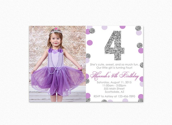 Purple And Silver Birthday Party Invitation Silver Glitter Polka - 1st birthday invitations girl purple