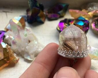 Rutile Quartz Point Sterling Silver Necklace