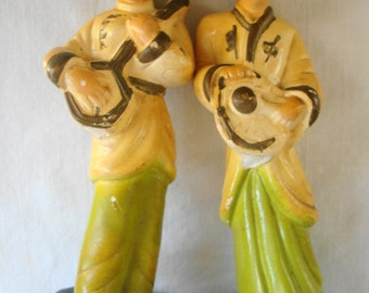 2 Vintage Chinese Musicians Cast Ceramic Figurines Playing Instruments Tall Curio Cabinet Figurines Classic 60s Chinese Cast Ceramic Men