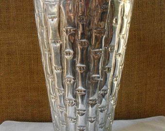 Vintage BRASS BAMBOO Vase Flower Holder Large Jardine Centerpiece Flower Vase Made in India Faux Bamboo Cast Brass Vase Art Metal Vase
