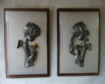 2 VINTAGE PEWTER ANGELS On Lucite Frame Boy Girl Cherubs Small Art Desk Art Cast Metal Winged Angel Children Cherubs Sweet Framed Angels