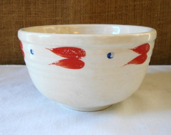 VINTAGE USA BAKE Oven Pottery Bowl With Red Wings & Blue Dot Ribbed Pottery Bowl Hand Painted Red Wings and Blue Dot Oven Proof Bakers Bowl
