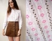 70's Vintage German Floral & Stripe Printed Blouse Shirt Size S/M
