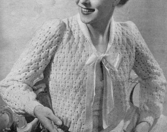 Lovely and Lacy 1940s Cardigan or Bed Jacket 34 Bust Sirdar 1069 Vintage Knitting Pattern Download