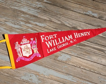 Vintage Fort William Henry Pennant Flag - Lake George, New York, Soldiers, Souvenir , Lion.