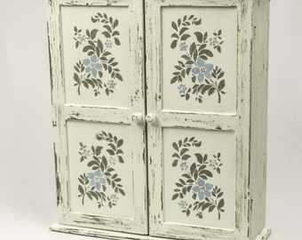 HOLIDAY SALE  Storage Cabinet Hanging or Standing Rustic Shabby Chic Hint of Mint with Florals
