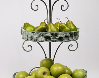 Three Tiered Standing Hanging Baskets Twine Wrapped Iron Hand Painted in Distressed Green Balsam Bath or Kitchen Storage