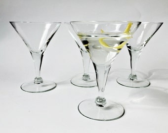 4 Martini Glasses Classic Stemmed Cocktail Glasses Vintage Glass Barware