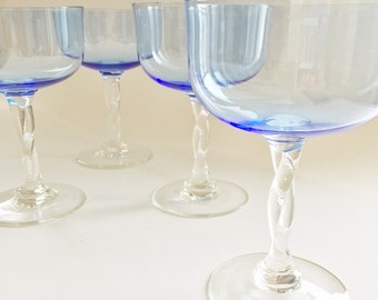 Vintage Champagne Stemware 2 Blue Champagne Glasses Coupe Glasses Hand Blown Champagne Stems Twisted Stems