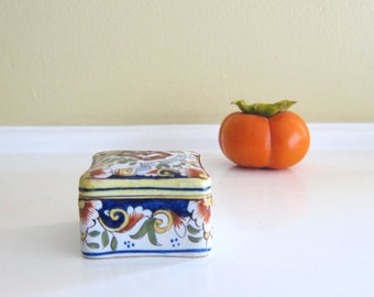 Vintage French ROUEN Faience Trinket Box Marked/Signed