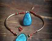 Eagle Lake - Turquoise pendant, Coral Agate Statement necklace Beaded Turquoise gemstone cabochon necklace