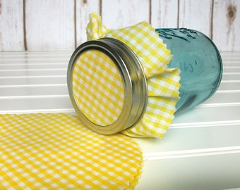 12 Yellow Gingham Jam Jar Covers, Cloth Toppers fabric for mason jars, canning jar covers, food preservation, wedding shower favor jars