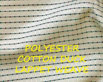 1 YARD, Cream Duck, Lappet Weave, Red Green Blue Thread Stripes, Upholstery Fabric, Heavy Weight, Cotton Polyester, B17