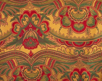 One YARD, Red Green Gold Paisley, 1990s Vintage, Brocade Upholstery Fabric, Very Large Design, Heavy Weight, Cotton Polyester Blend, B16