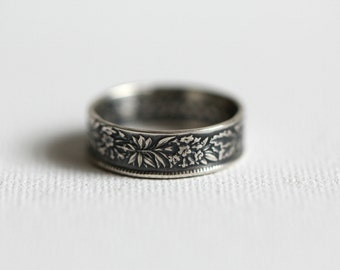 1944 Switzerland One Franc, Handmade Coin Ring; Custom Sizing 4-10